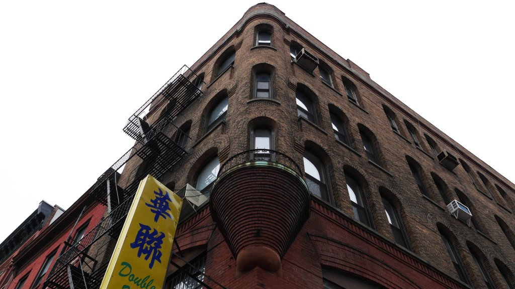 Brick Building Triangle with Balcony Turret